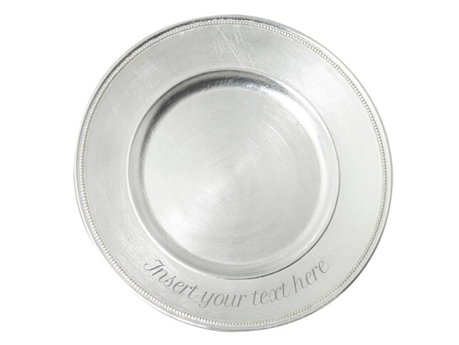 Bead Edge Silver Charger Plate