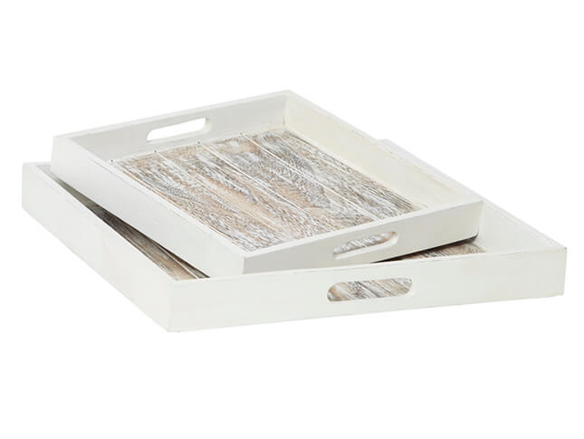 Grey Wash Square Tray Set