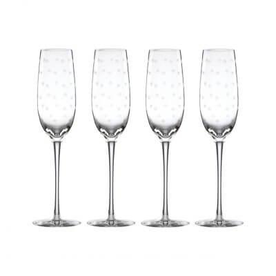 Kate Spade Larabee Dot Platinum Champagne Flutes Set (4)