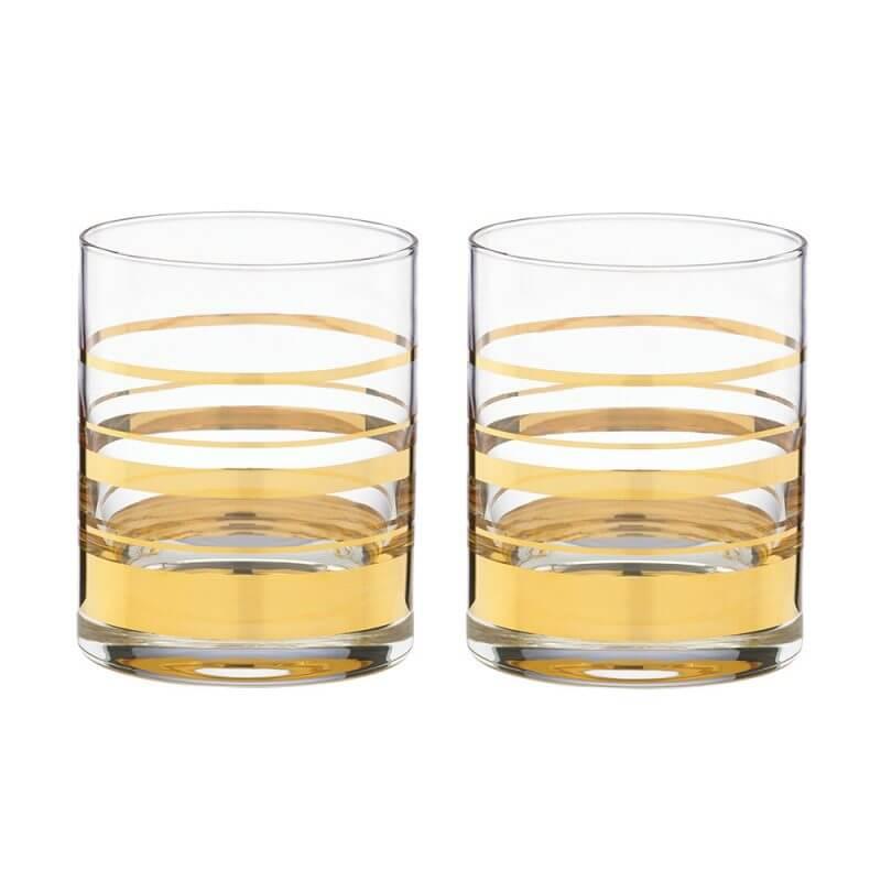 Kate Spade Hampton Street DOF Striped Crystal Glasses (Pair)