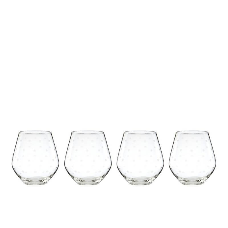 Kate Spade Larabee Dot Platinum Stemless Wine Glass Set (4)