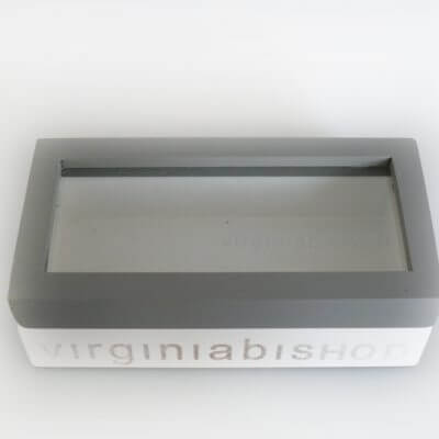 Glass Lid Grey Timber Box – Small