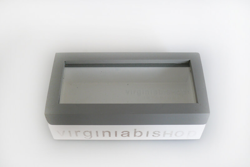 Glass Lid Grey Timber Box – Small