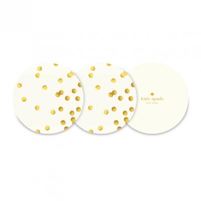 Kate Spade NY Coasters – Gold Polka Dots