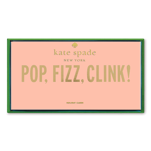 Kate Spade New York Holiday Card Pop Fizz Clink Packaging