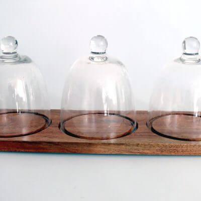 Havana Acacia Tray With Three Glass Cloche
