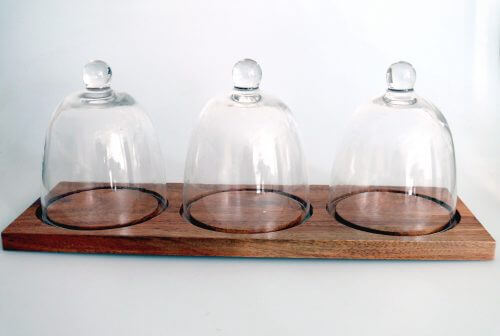 Havana Acacia Tray With Three Glass Cloche