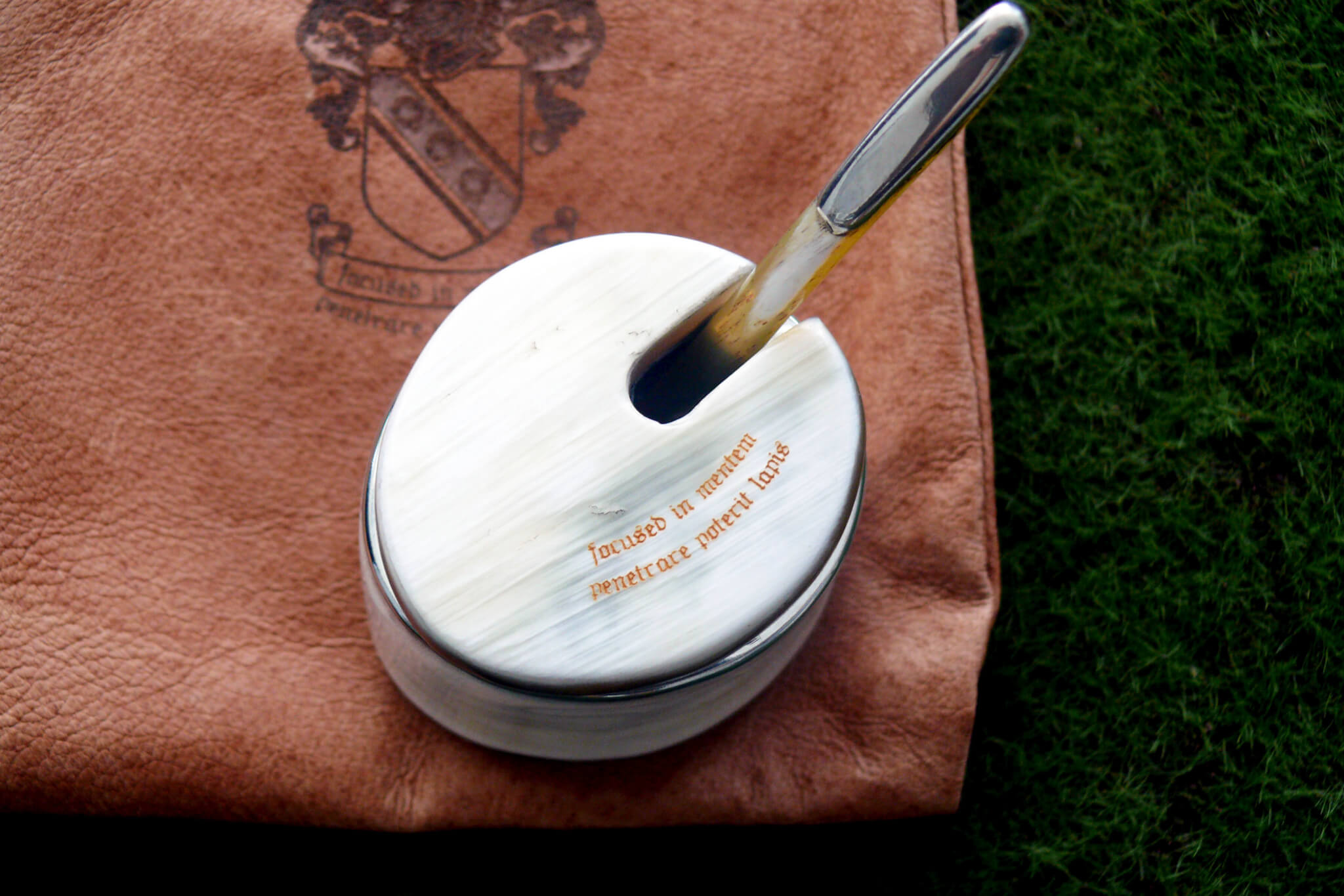 Personalised Gift Idea: Engraved Leather Pouch & Horn Pot