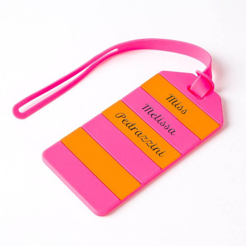 Kate Spade Luggage Tag Pink And Orange Stripe With Engraving