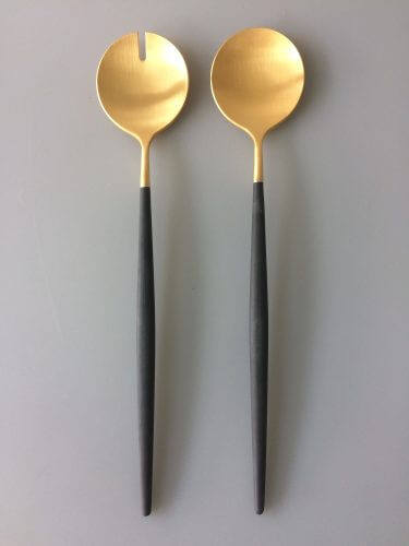 Goa Black Matte Gold Salad Set