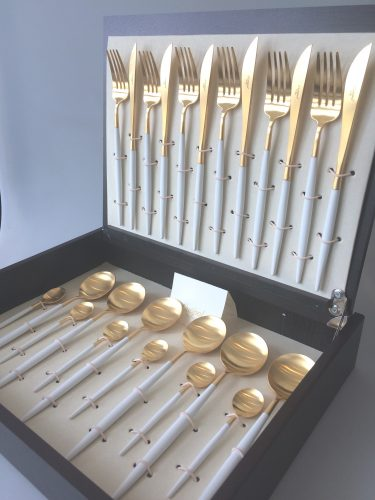 Cutipol Goa White Matte Gold 24 Piece Cutlery Set In Presentation Box