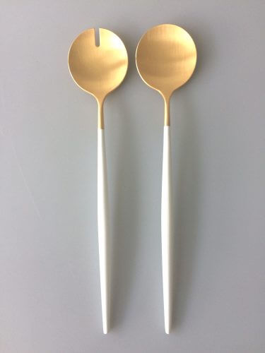 Goa White Matte Gold Salad Set