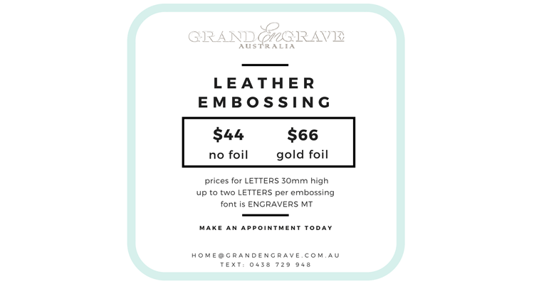 Leather Embossing by Grand Engrave Brisbane