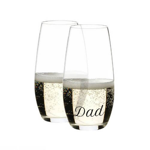 Dad Engraved Riedel Champagne O Series Stemless Wine Glasses Fathers Day Special Gift