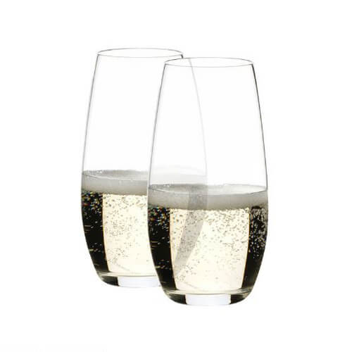 Custom Engraved Riedel Champagne O Series Stemless Wine Glasses