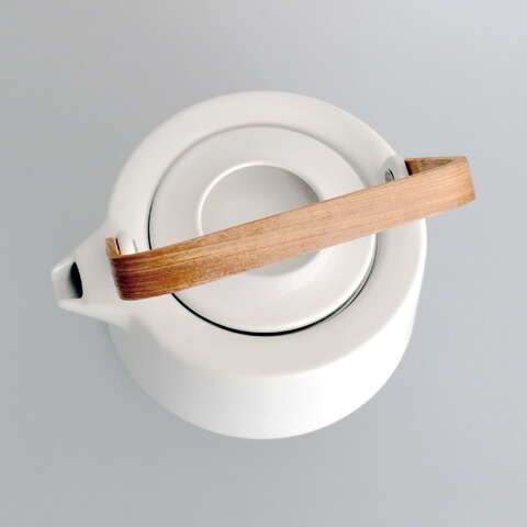 Ceramic White Teapot With Wooden Handle