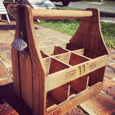 Wooden Beer Caddy Engraved Grand Engrave