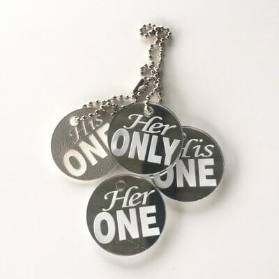 her ONLY his ONE keyring tags engagement present