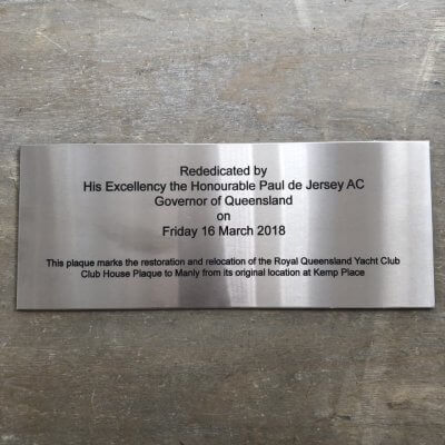 engraved plaque queensland yacht club