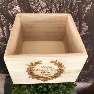 large wooden mothers day plant pot box above view