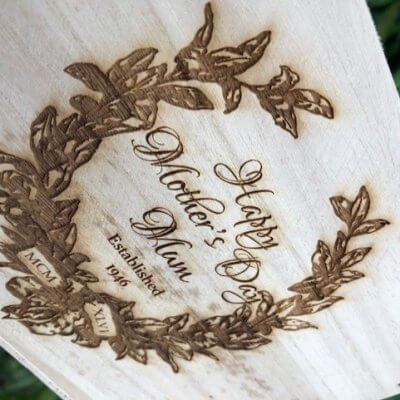 large wooden mothers day plant pot box close up