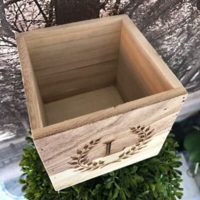 small personalised wooden box top view