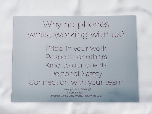 Office Sign – No Phones Allowed