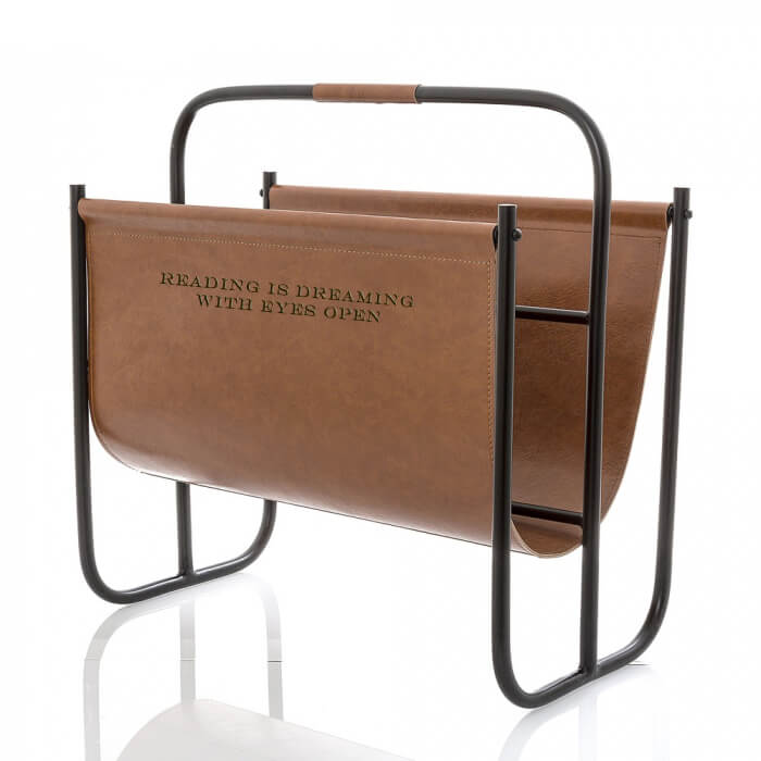Magazine Rack Brown Leather Black Engraving