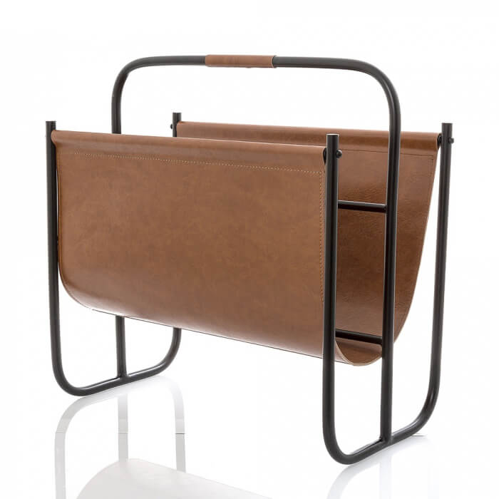 Leather & Black Magazine Rack