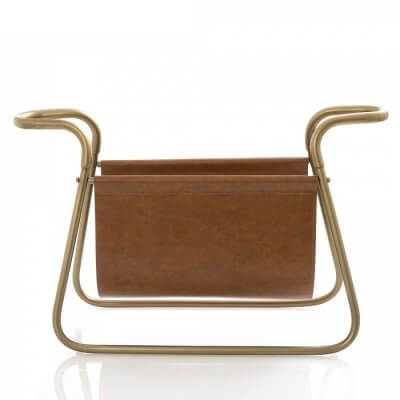 Leather & Brass Magazine Rack