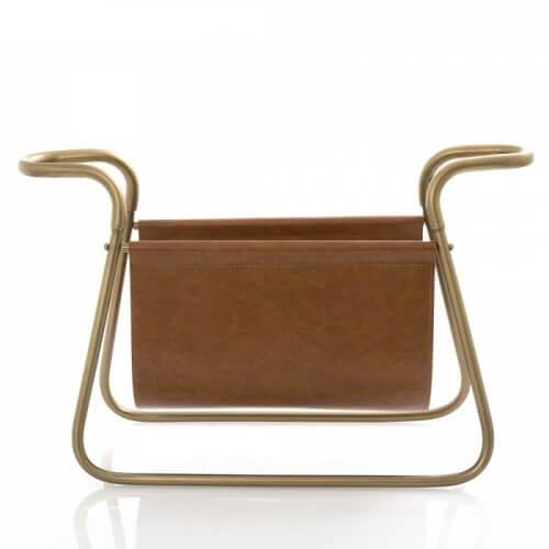 Magazine Rack Brown Leather w Brass
