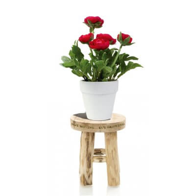 Natural Teak Stool with engraving and flower