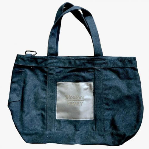 canvas tote with leather engraving patch white