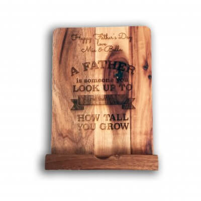 Personalised Father's Day Gift: Wooden Cookbook / IPad Stand