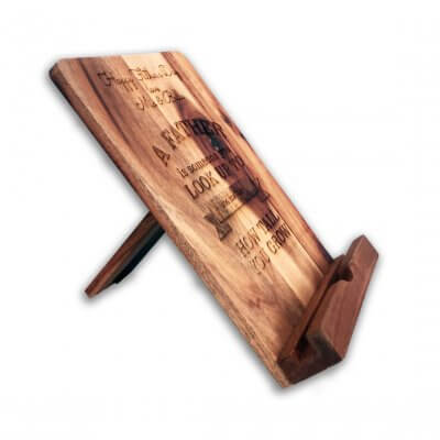 Father's Day Cookbook Stand Wooden Personalised Side View