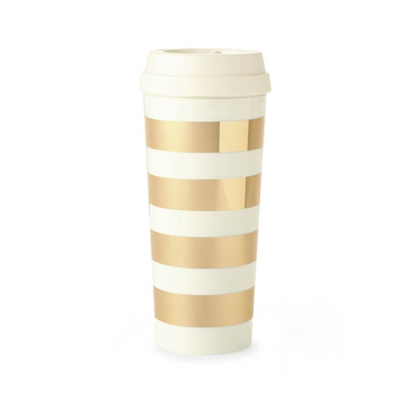 Kate Spade Gold Stripe Thermal Mug Keep Cup