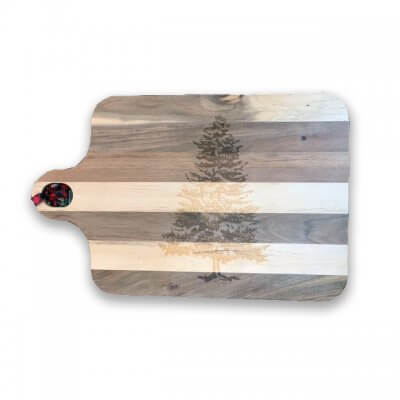 Acacia Wooden Board W/Tree Engraving