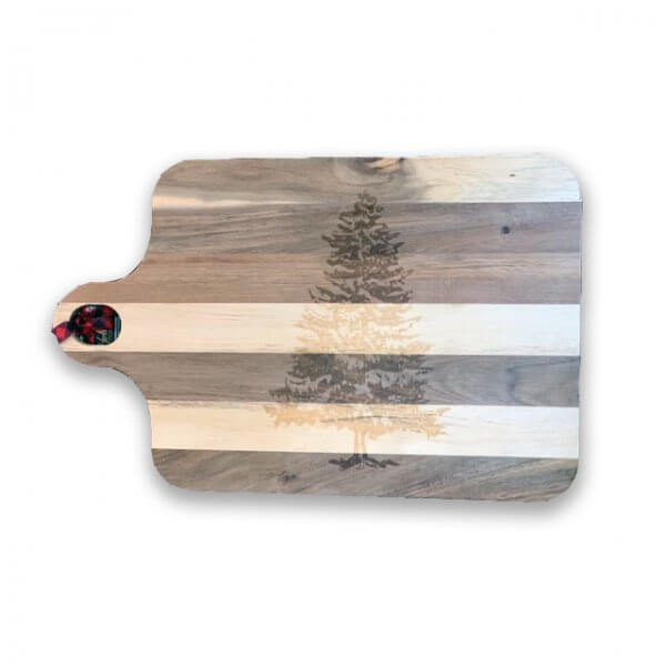 acacia wooden cutting board with tree