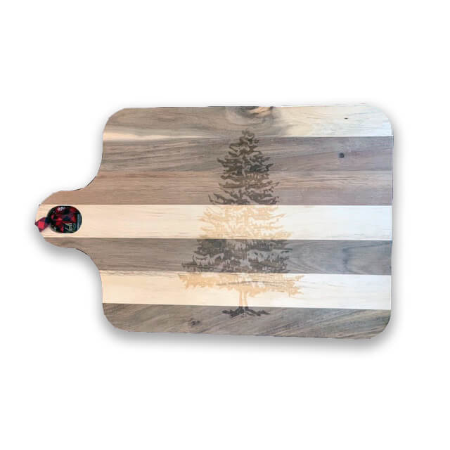 Acacia Wooden Board w/Tree Engraving