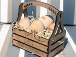 Four Wooden Eggs In Basket
